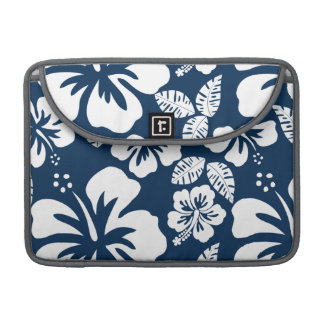 Dark Midnight Blue Tropical Hibiscus Flowers Sleeve For MacBooks