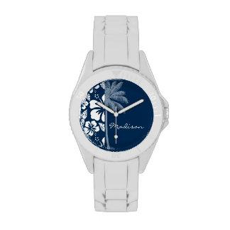 Dark Midnight Blue Tropical Hibiscus; Palm Wrist Watches