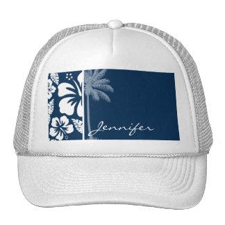 Dark Midnight Blue Tropical Hibiscus; Palm Hat