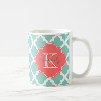 Dark Mint and Coral Moroccan Quatrefoil Print Coffee Mug