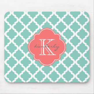 Dark Mint and Coral Moroccan Quatrefoil Print Mouse Mat
