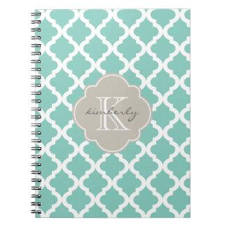 Dark Mint and Linen Moroccan Quatrefoil Print Notebook
