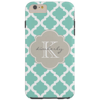 Dark Mint and Linen Moroccan Quatrefoil Print Tough iPhone 6 Plus Case