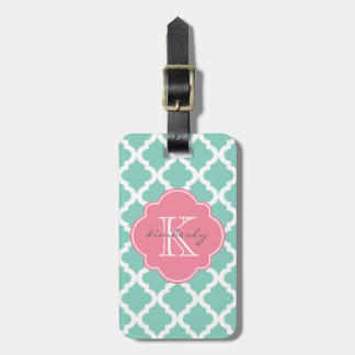 Dark Mint and Rose Pink Moroccan Quatrefoil Print Luggage Tag