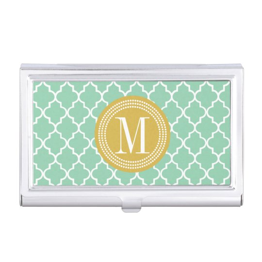 Dark Mint Moroccan Tiles Lattice Personalised Business Card Holder