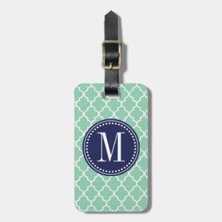 Dark Mint Moroccan Tiles Lattice Personalized Luggage Tag