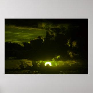 dark moody olive sunset sky poster