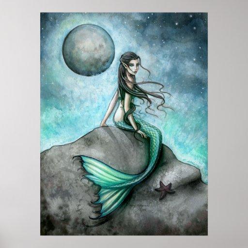 Dark Moon Mermaid Fantasy Art Poster