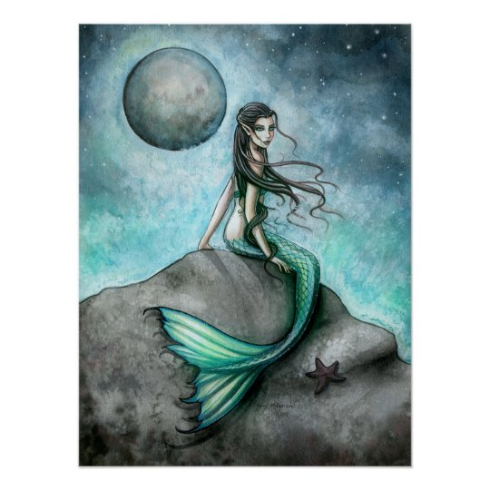 Dark Moon Mermaid Fantasy Art Poster