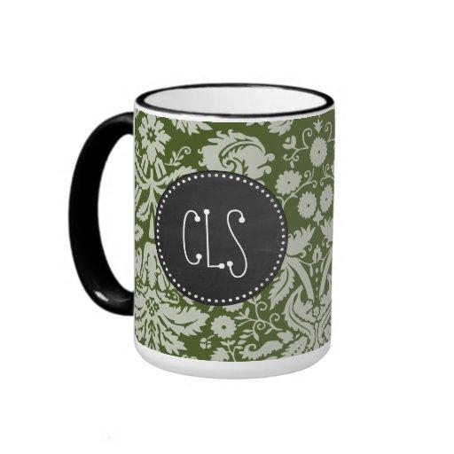 Dark Moss Green Damask; Chalkboard Mugs