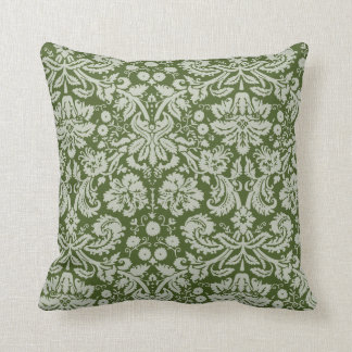 Dark Moss Green Damask Cushion