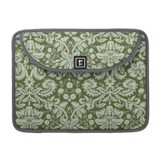 Dark Moss Green Damask Sleeve For MacBooks