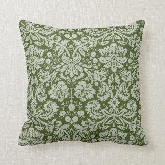 Dark Moss Green Damask Throw Pillow