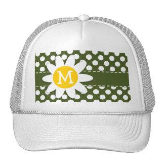 Dark Moss Green Polka Dots; Daisy Trucker Hat
