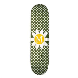 Dark Moss Green Polka Dots; Daisy Custom Skate Board