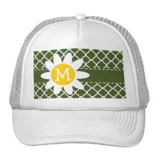 Dark Moss Green Quatrefoil; Daisy Trucker Hat