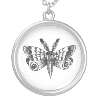 Dark Moth Round Pendant Necklace