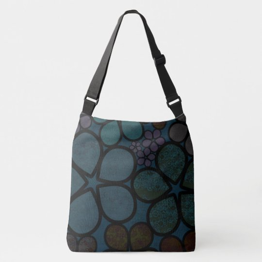 Dark Multicolored Floral Crossbody & Tote Bag