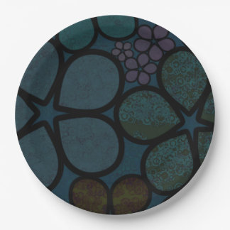 Dark Multicolored Modern Textured Circle Florals Paper Plate
