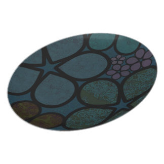 Dark Multicolored Modern Textured Circle Florals Party Plates