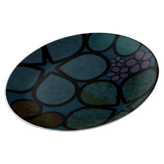 Dark Multicolored Modern Textured Circle Florals Plate