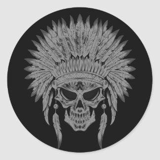 Dark Native Skull Classic Round Sticker