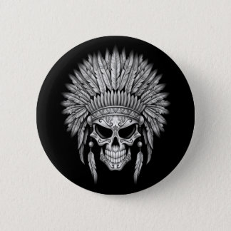 Dark Native Sugar Skull with Headdress 6 Cm Round Badge