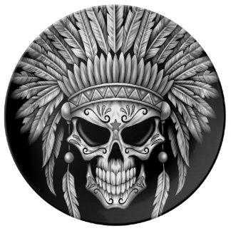 Dark Native Sugar Skull with Headdress Porcelain Plates