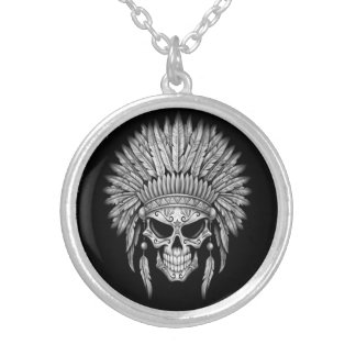 Dark Native Sugar Skull with Headdress Silver Plated Necklace