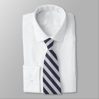 Dark Navy and White Diagonal Striped Tie