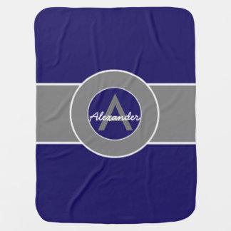 Dark Navy Blue Gray Baby Blanket