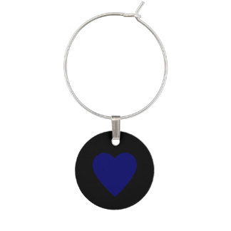 Dark Navy Blue Heart Wine Glass Charms