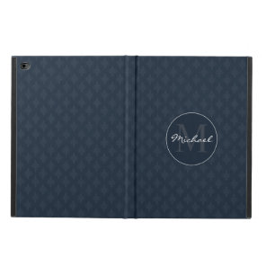 Dark Navy Blue Masculine Personalised Monogram Powis iPad Air 2 Case