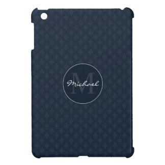 Dark Navy Blue Masculine Personalized Monogram iPad Mini Covers