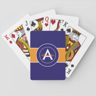 Dark Navy Blue Orange Playing Cards