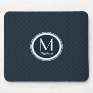Dark Navy Blue Pattern Personalized Monogram Mouse Pad