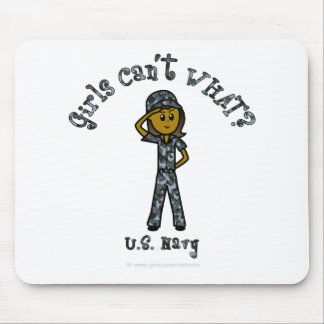 Dark Navy Girl USA Mouse Pad