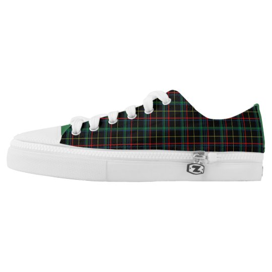 Dark Navy/Red/Green Plaid Low Top Sneakers