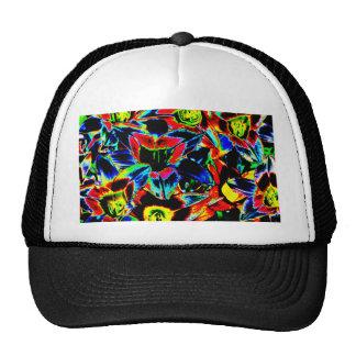 Dark Neon Floral Print Cap