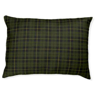 Dark Odee green, gold/yellow/black stripe Plaid Pet Bed