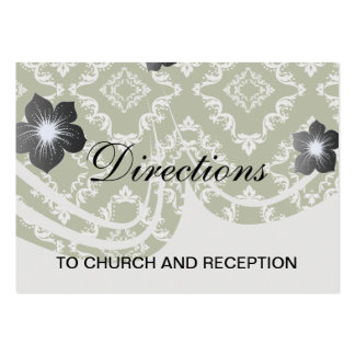 dark olive green and white diamond damask pack of chubby business cards