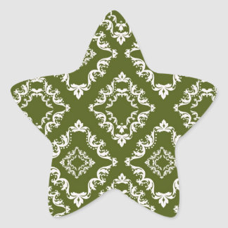 dark olive green and white diamond damask star sticker