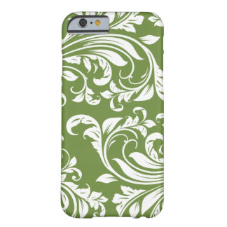 Dark Olive Green and white floral damask Barely There iPhone 6 Case