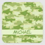 Dark Olive Green Camo Camouflage Name Personalised Square Sticker