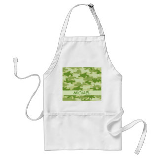 Dark Olive Green Camo Camouflage Name Personalized Standard Apron