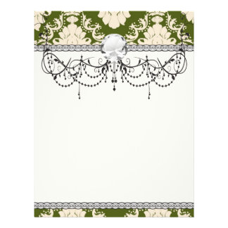 dark olive green cream romantic damask flyer