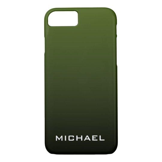Dark Olive Green Monogram iPhone 7 Case