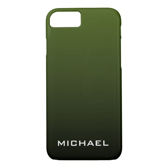Dark Olive Green Monogram iPhone 8/7 Case