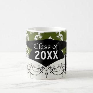 dark olive green white diamond damask graduation basic white mug