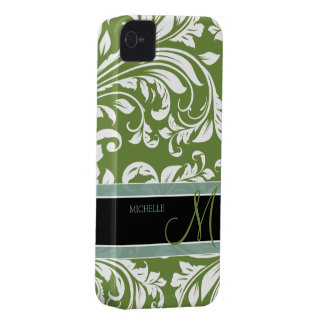 Dark Olive Green & white floral damask w/ monogram iPhone 4 Cover